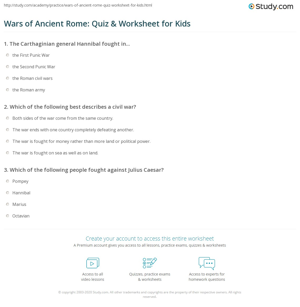 Wars Of Ancient Rome Quiz Amp Worksheet For Kids
