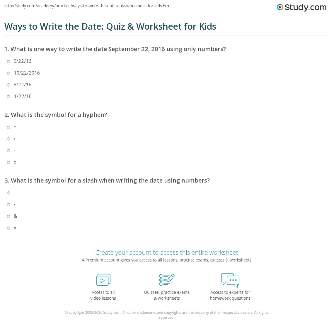 Ways To Write The Date Quiz Amp Worksheet For Kids