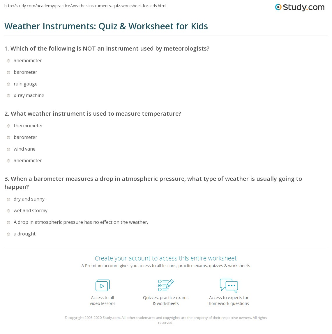 Weather Instruments Quiz Amp Worksheet For Kids