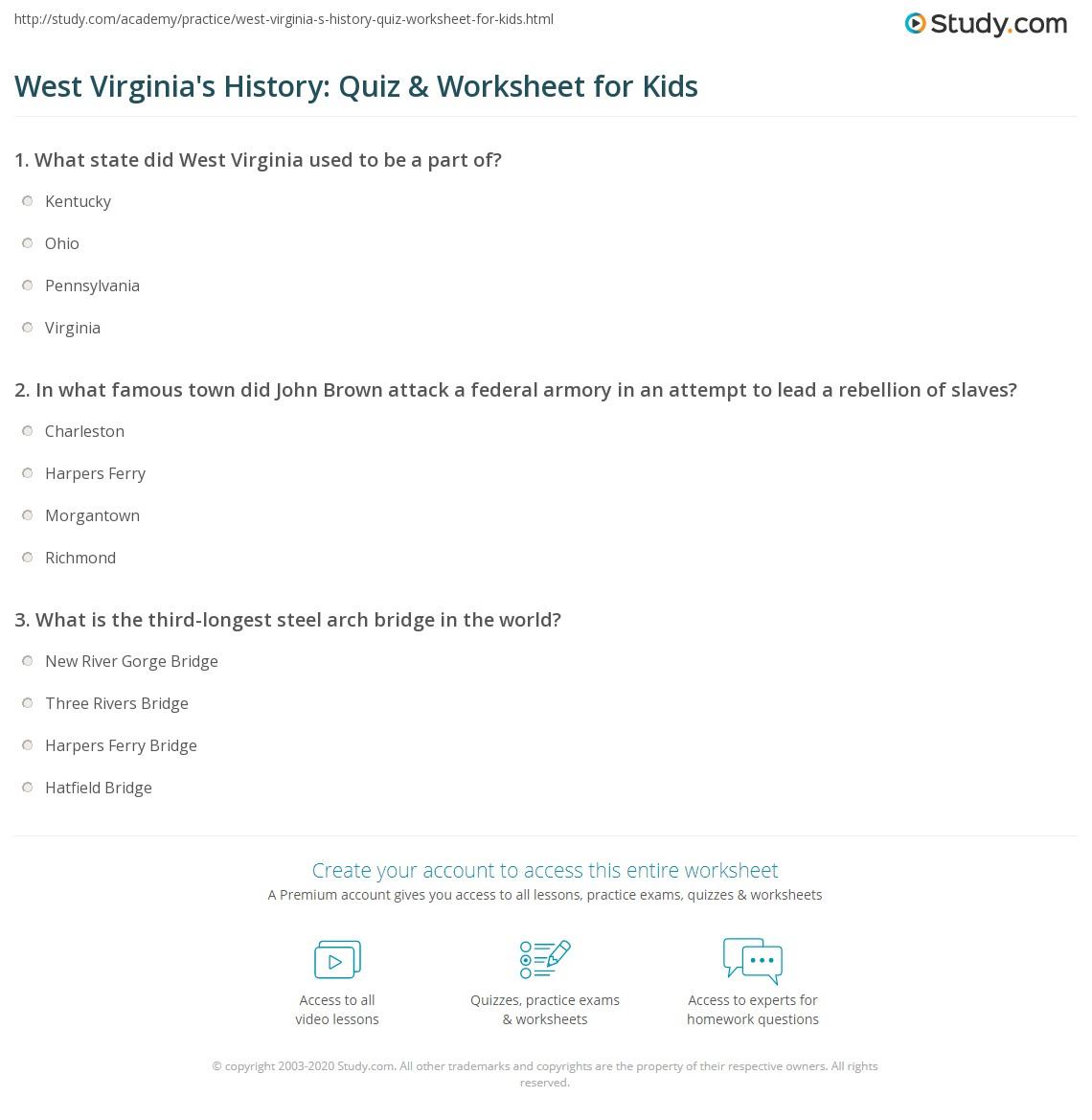 West Virginia S History Quiz Amp Worksheet For Kids