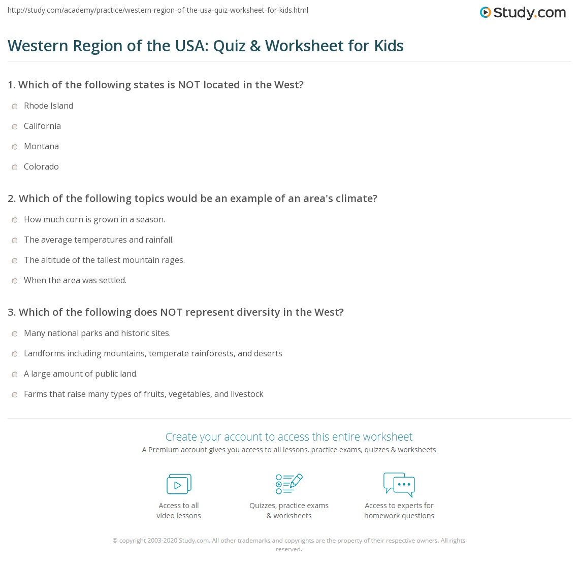 Western Region Of The Usa Quiz Amp Worksheet For Kids