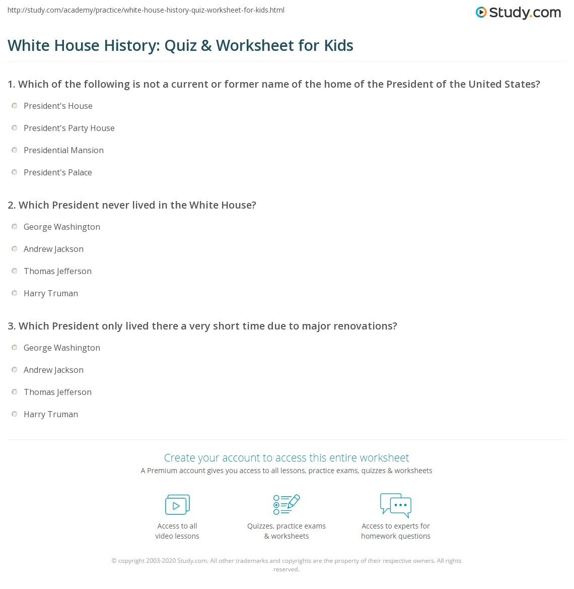 White House History Quiz Amp Worksheet For Kids