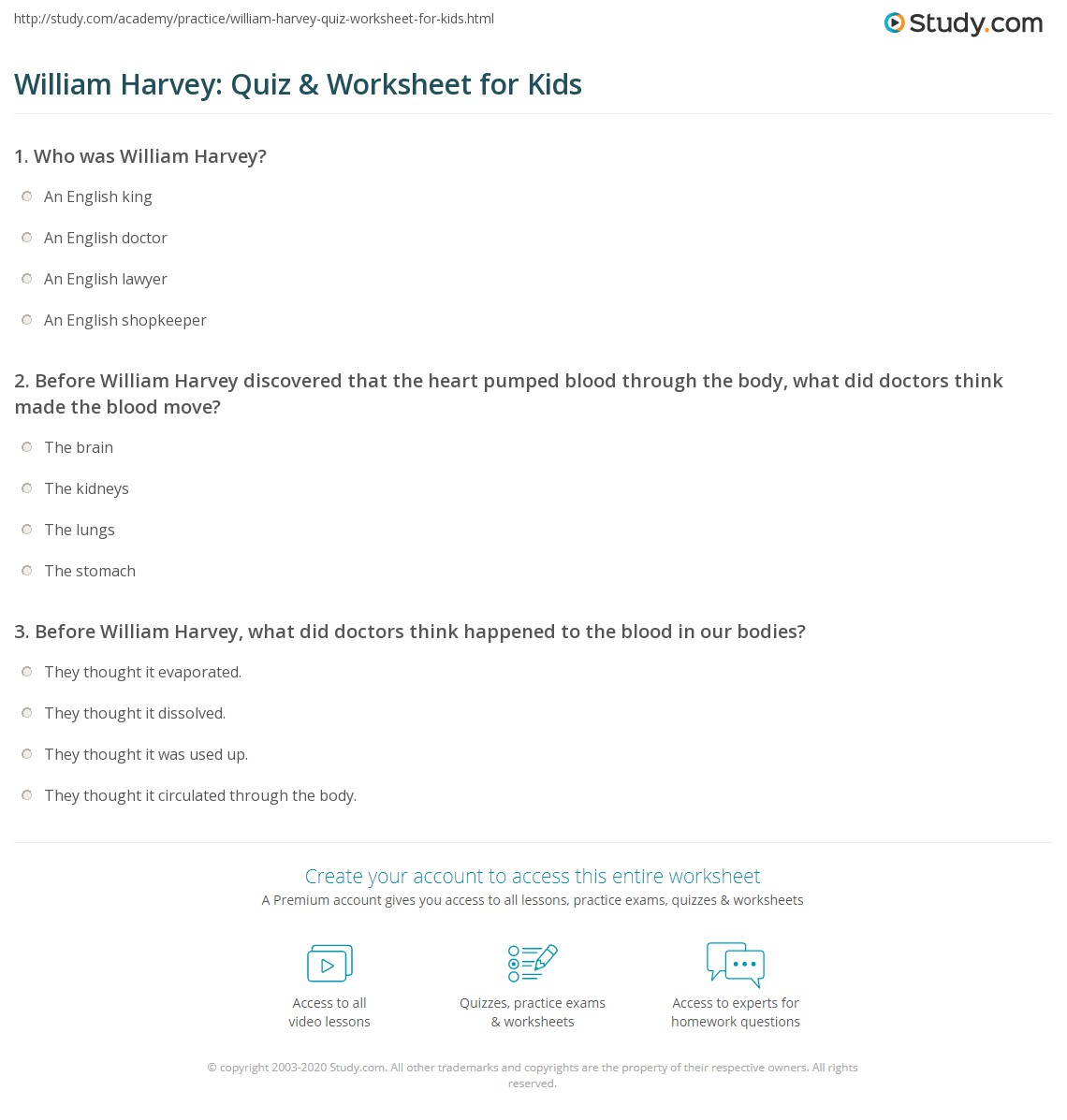 William Harvey Quiz Amp Worksheet For Kids