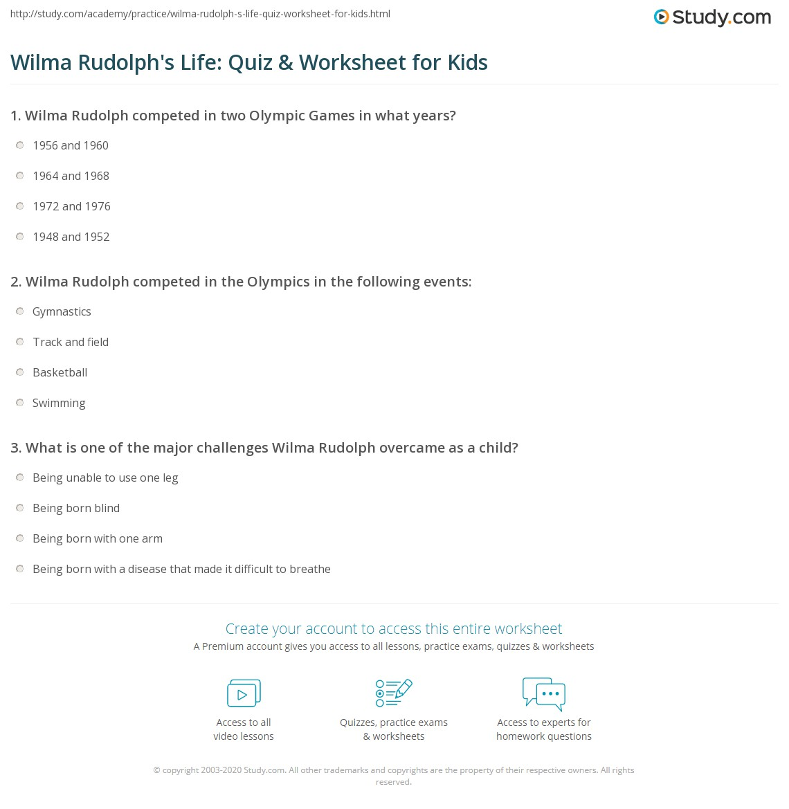 Wilma Rudolph S Life Quiz Amp Worksheet For Kids