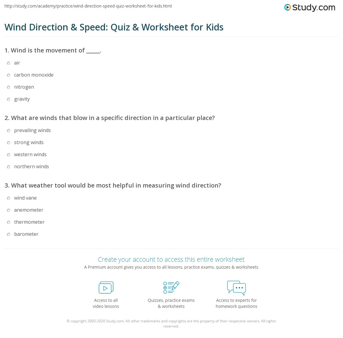 Wind Direction Amp Speed Quiz Amp Worksheet For Kids