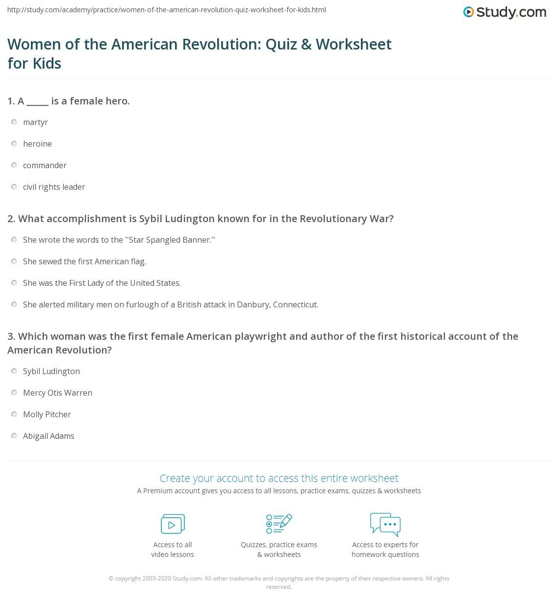 Women Of The American Revolution Quiz Amp Worksheet For