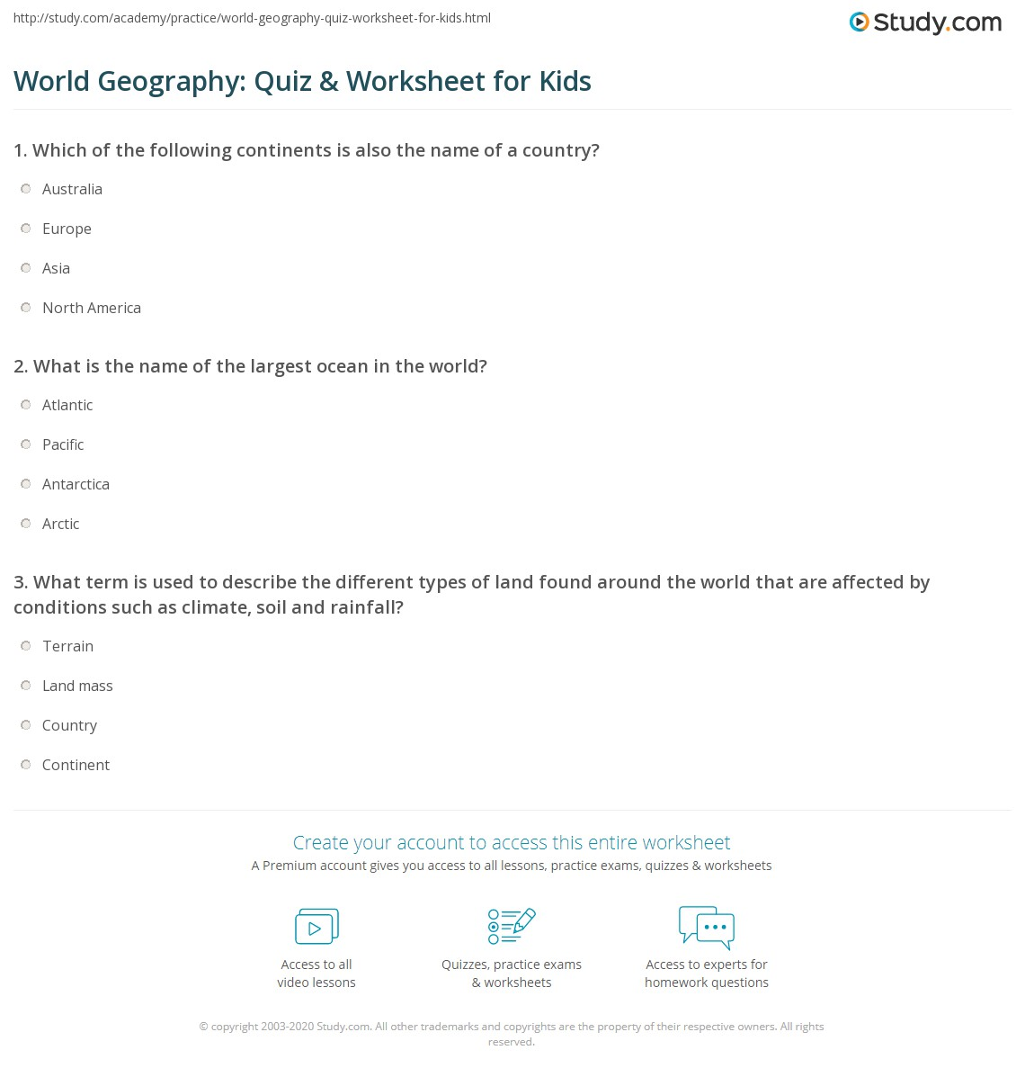 World Geography Quiz Amp Worksheet For Kids