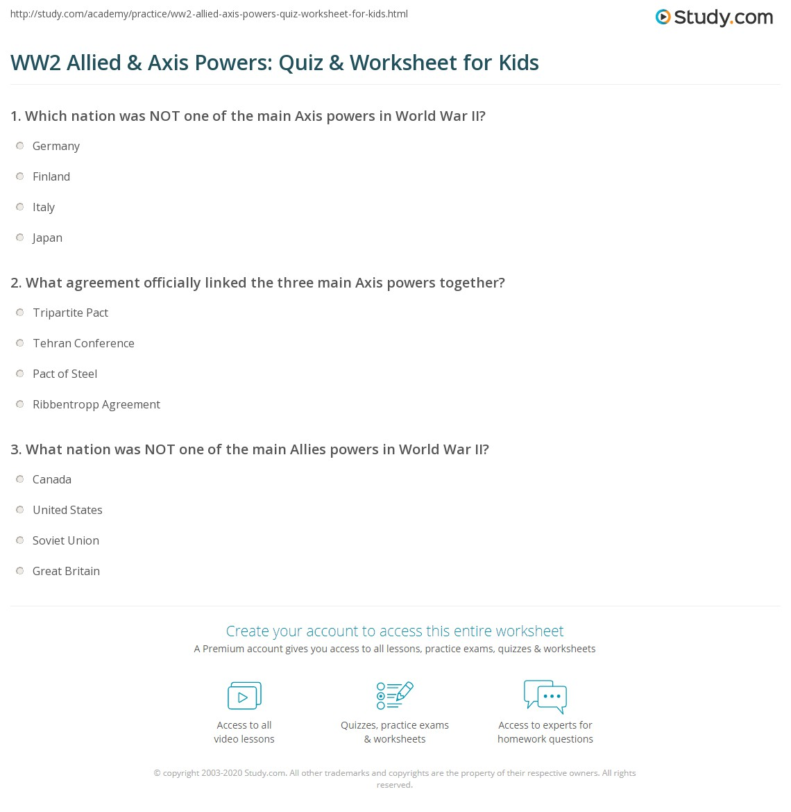 Ww2 Allied Amp Axis Powers Quiz Amp Worksheet For Kids