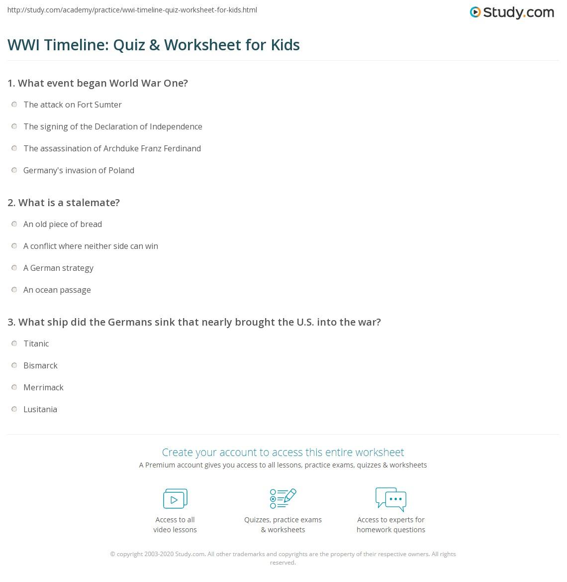 Wwi Timeline Quiz Amp Worksheet For Kids