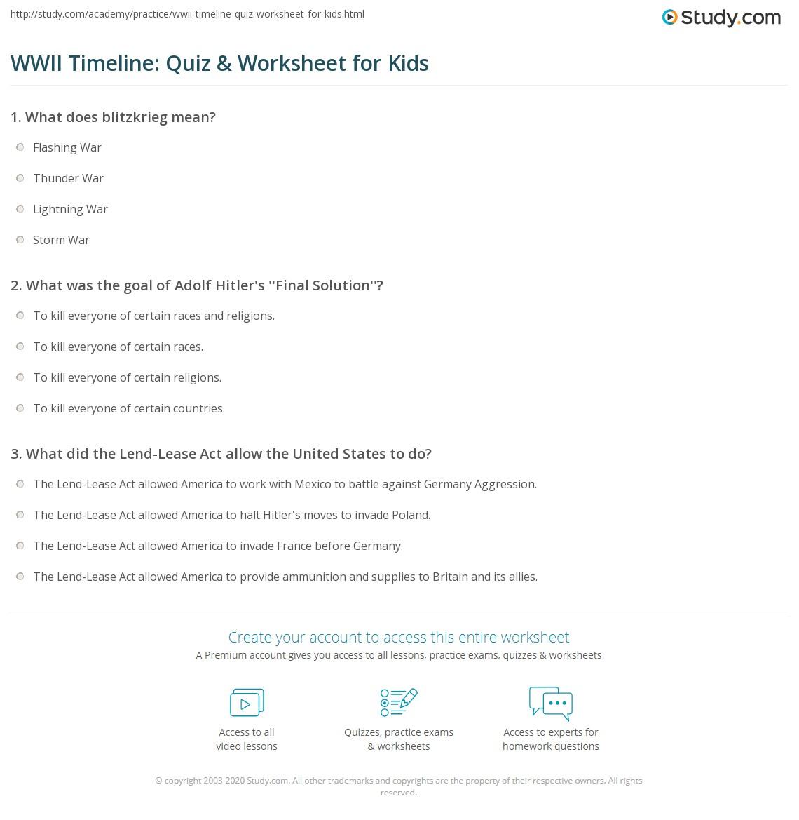 Wwii Timeline Quiz Amp Worksheet For Kids