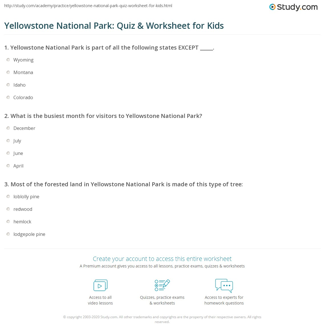 Yellowstone National Park Worksheet