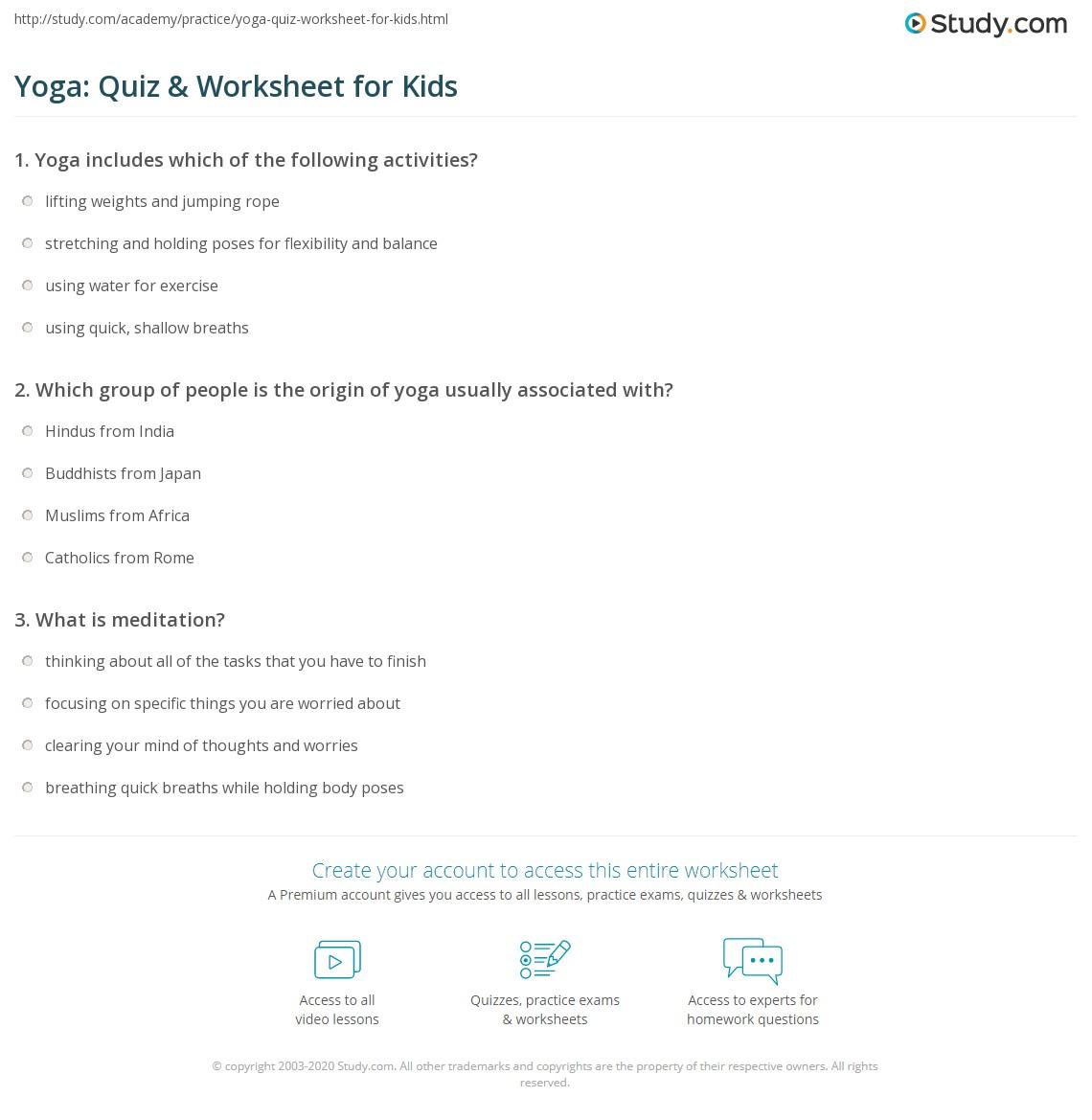 Yoga Quiz Amp Worksheet For Kids