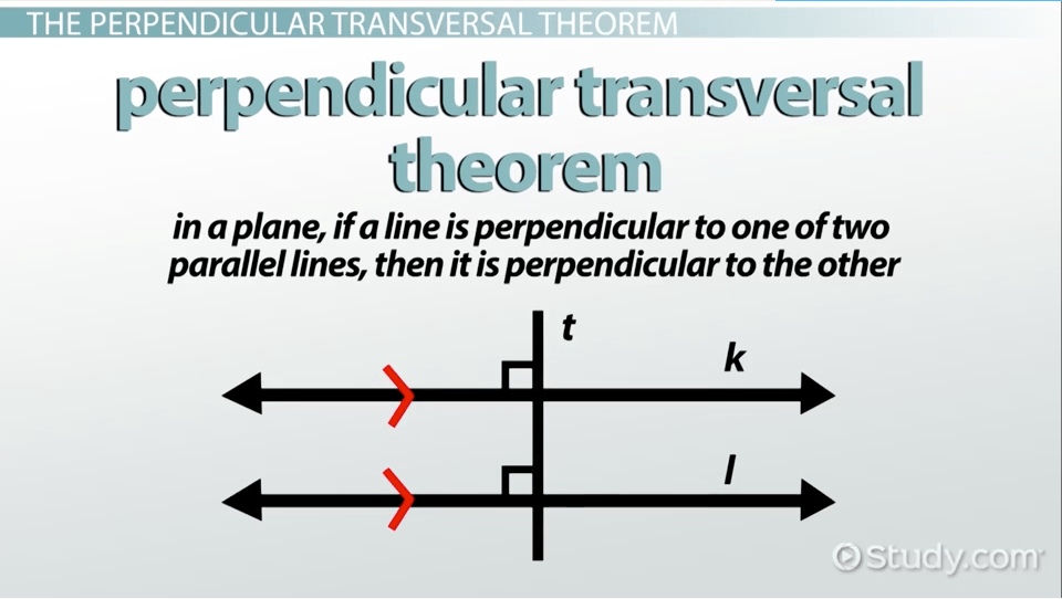 The Perpendicular Transversal Theorem Amp Its Converse
