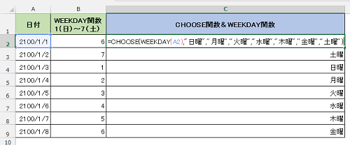 WEEKDAY関数とCHOOSE関数を組み合わせて使用した様子