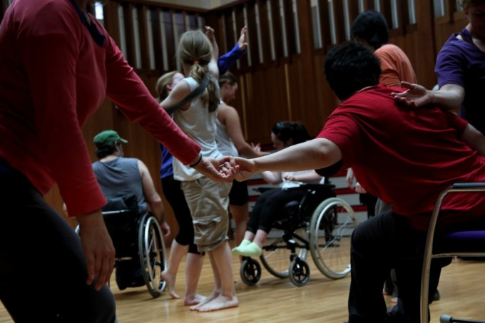 """Touch and movement go together...follow your interests."" MeetShareDance workshop leader in guided improvisation using five senses"