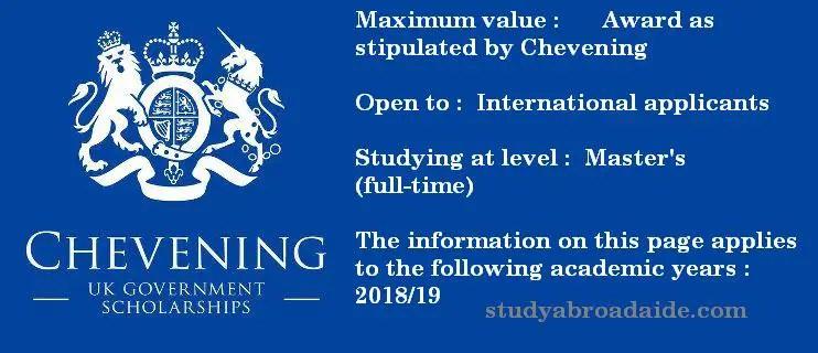Chevening Scholarship UK