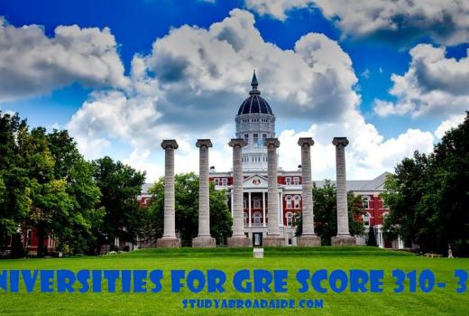 Universities for GRE score 310 320