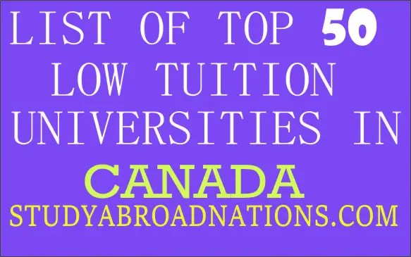 list of low tuition universities in Canada