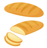 figure showing slicing of bread in one-eighth pieces