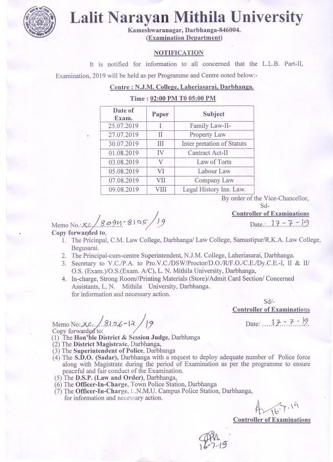 LLB Part-2 Examination Programme