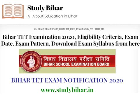 Bihar TET Exam 2020