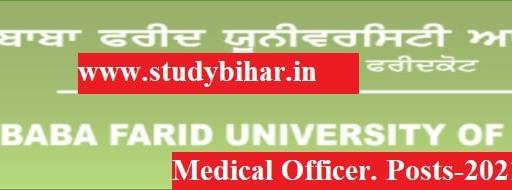 Apply Application for Medical Officer Posts-2021 in BFUHS, Last Date-30/04/2021.