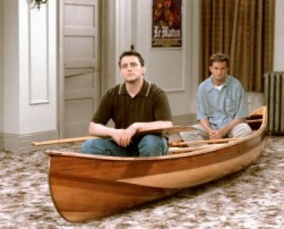 Chandler and Joey in a canoe