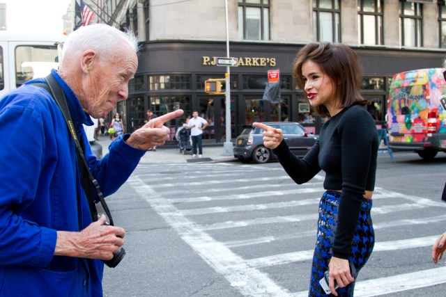 Bill Cunningham and a Bellatrix Lestrange lookalike
