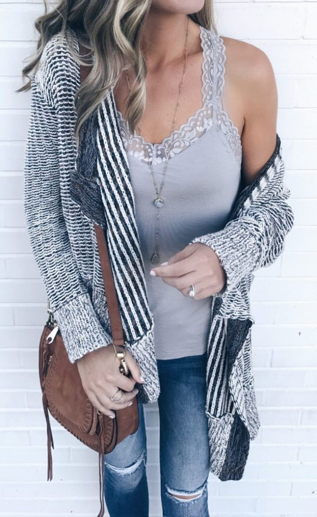 fall-transition-outfits-gray-lace-trim-camisole-with-shelf-bra-under-cotton-knit-drape-front-open-cardigan-on-pinterestingplans-1-683×1024