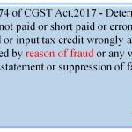 Section 74 of CGST Act,2017 - Determination of tax not paid or short paid or erroneously refunded or input tax credit wrongly availed or utilised by reason of fraud or any willful misstatement or suppression of facts