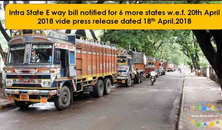 Intra State E way bill notified for 6 more states w.e.f. 20th April 2018
