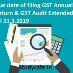 Due date of filing GST Annual Return & GST Audit Extended till 31.3.2019