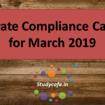 Corporate Compliance Calendar for March 2019