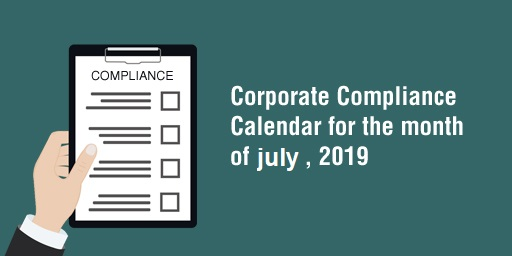 MCA / ROC COMPLIANCE CALENDAR – JULY 2019.