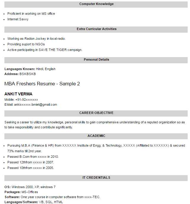 latest resume format for mba freshers 2016 2017 studychacha