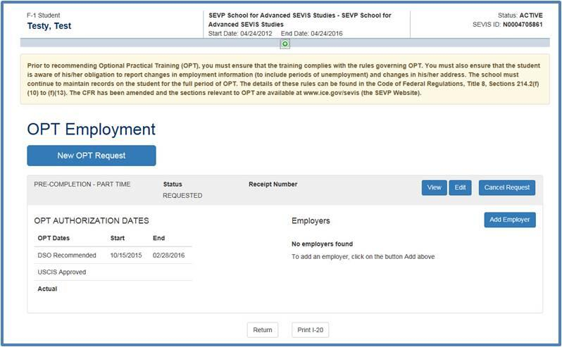 Screenshot of OPT Employment page with requested OPT employment added.