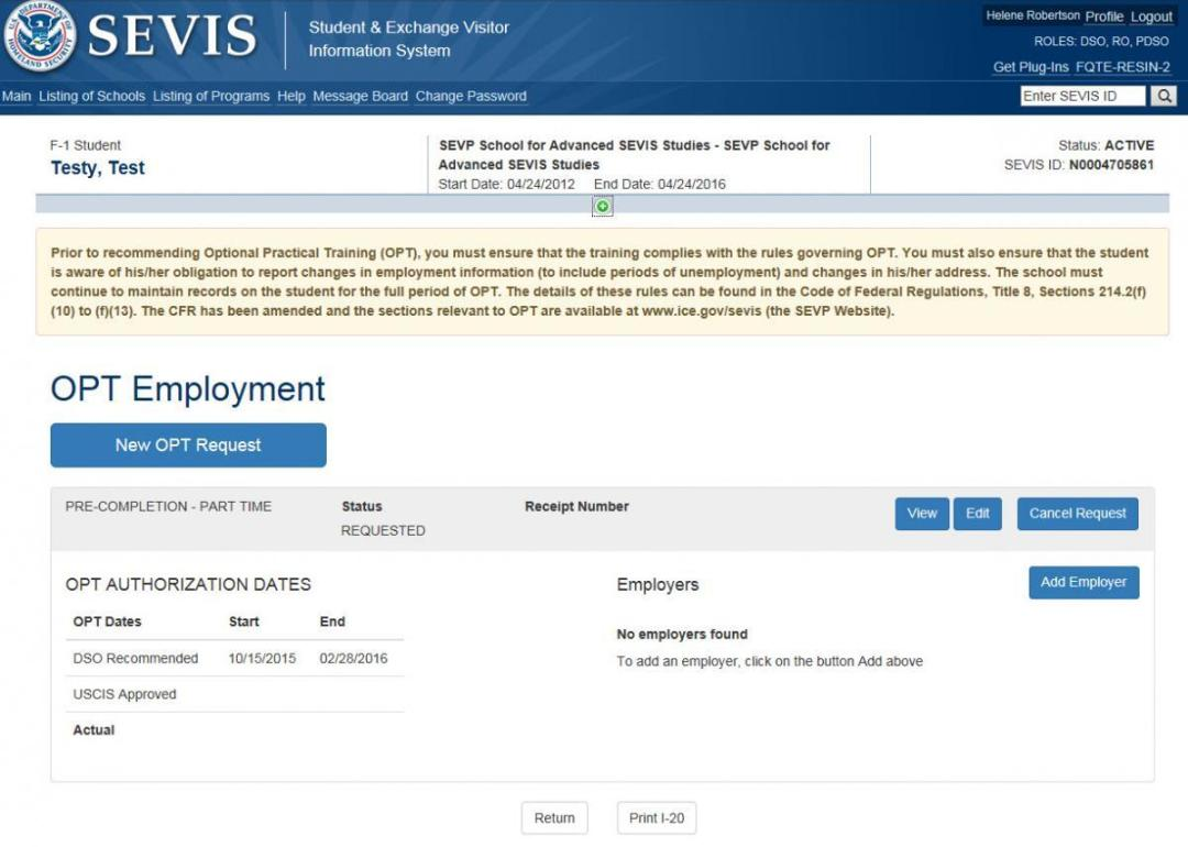 Screenshot of OPT Employment page with Cancel Request link in the Command column circled.)