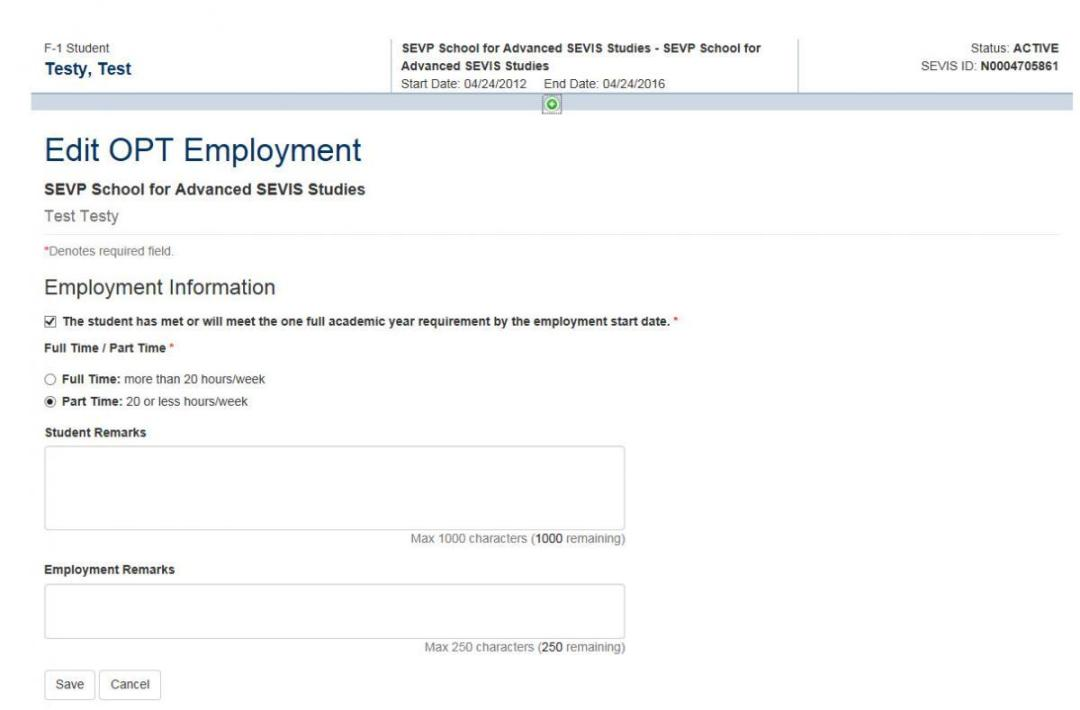 Screenshot of Edit OPT Employment page.