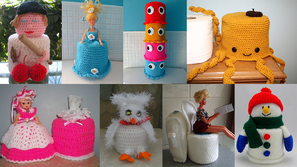 Knitted loo roll covers