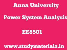 EE8501 Power System Analysis