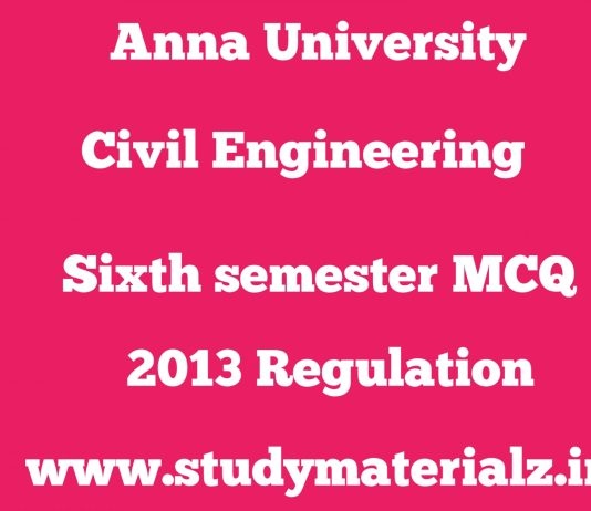 Civil Engineering Sixth Semester Subjects MCQ Huge Collection