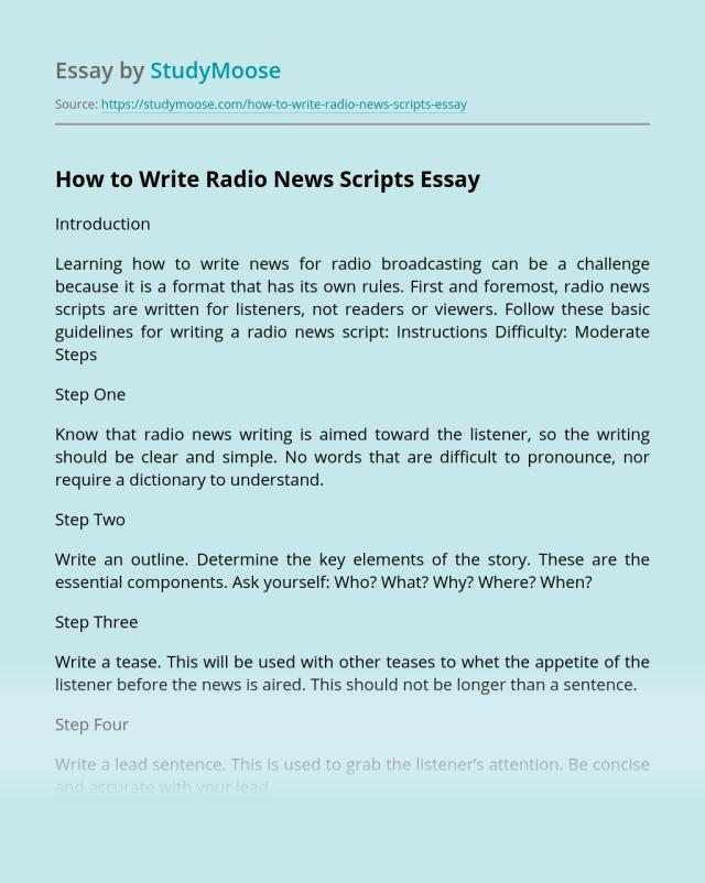 How to Write Radio News Scripts? Free Essay Example