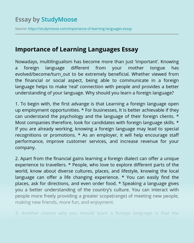 Importance of Learning Languages Free Essay Example