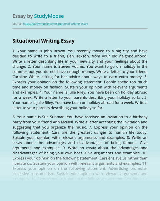 Situational Writing Free Essay Example
