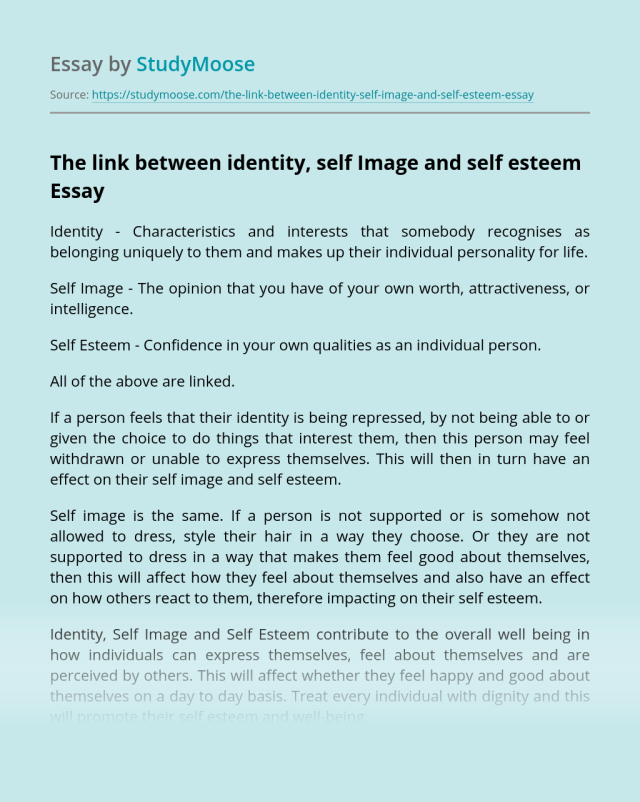 The link between identity, self Image and self esteem Free Essay