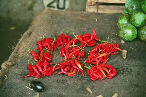 Hot and Spicy! Details from a market stall in Dar Es Salaam, Tanzania. Photo: Cornelia Kaufmann