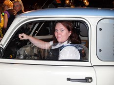 """Driving"" a Trabi at the DDR Museum ©Cornelia Kaufmann"
