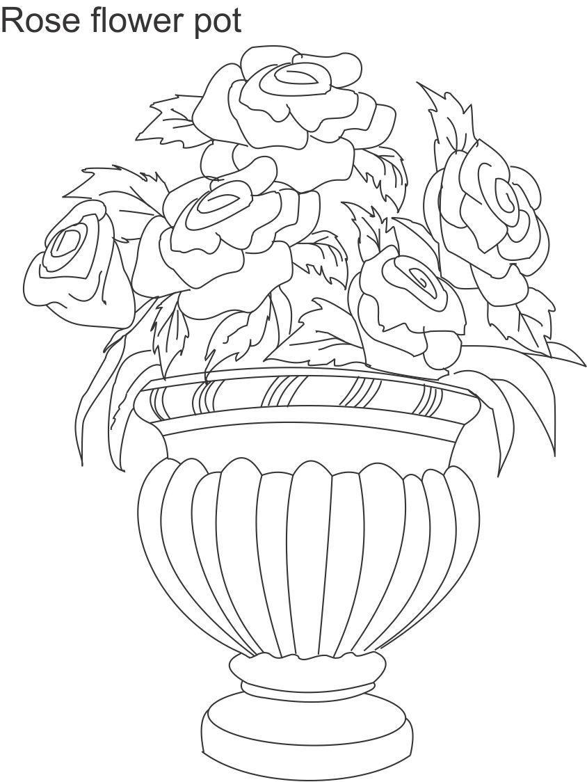 flower pot coloring page hicoloringpages