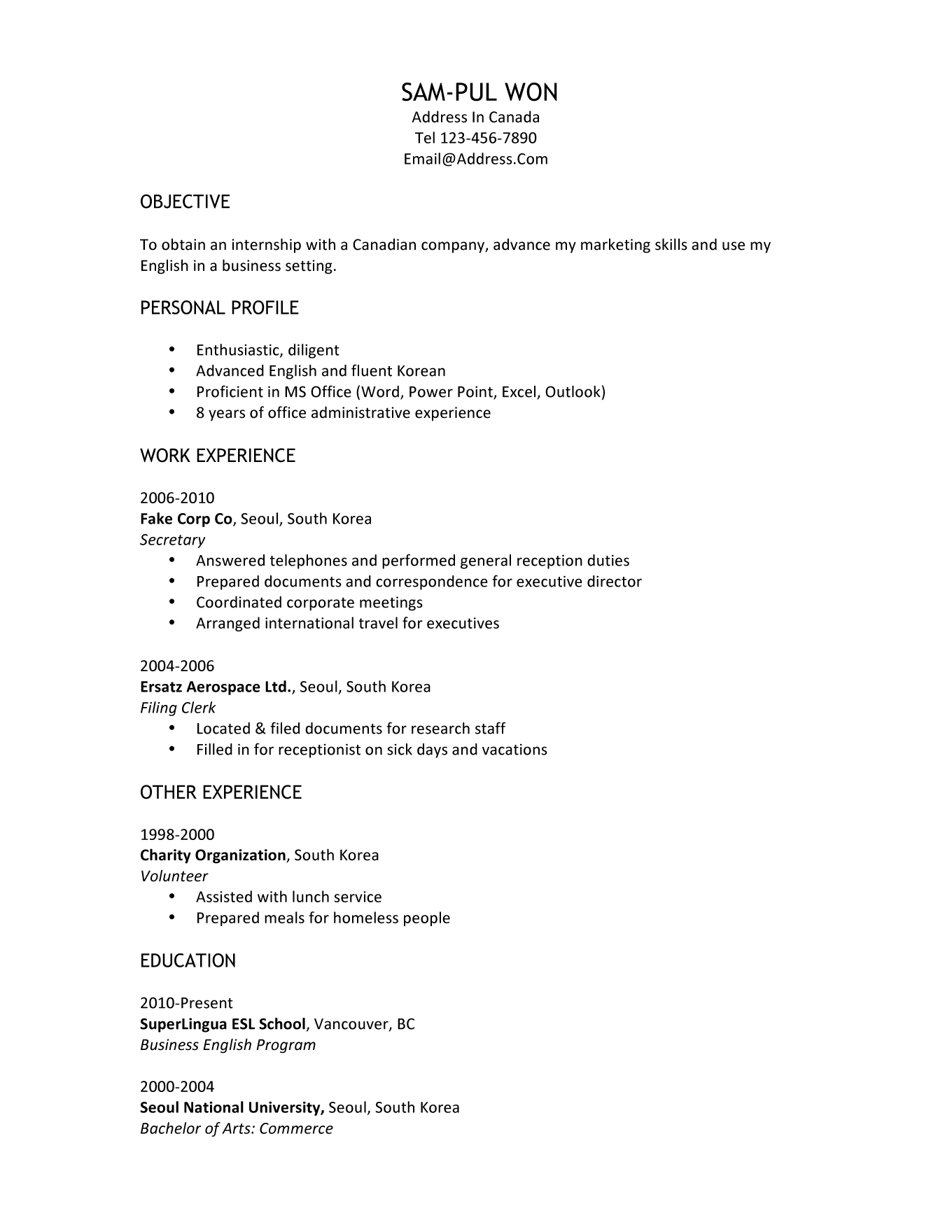 cv sample for internship pdf cv builder avis