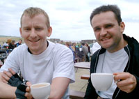 Hugh and James with a well deserved cup of tea